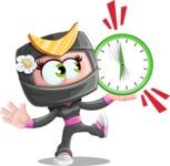 Japan Ninja Girl Cartoon Vector Character AKA Miho - Time is up