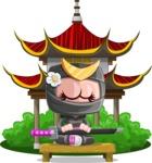 Japan Ninja Girl Cartoon Vector Character AKA Miho - Temple