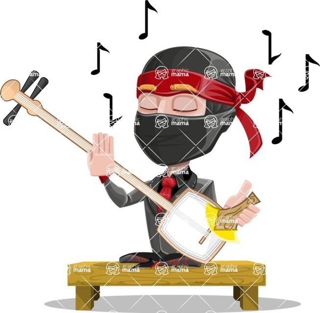 Business Ninja Cartoon Vector Character AKA Daikoku - Music