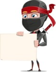 Business Ninja Cartoon Vector Character AKA Daikoku - Sign 3