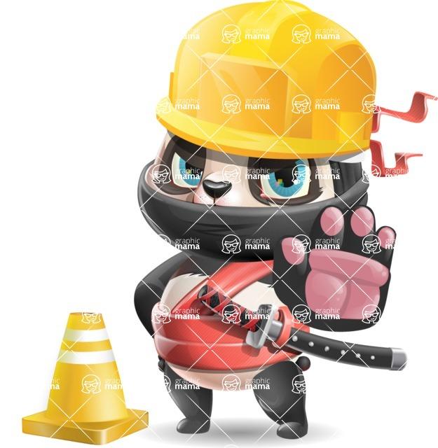 Ninja Panda Vector Cartoon Character - as a Construction worker