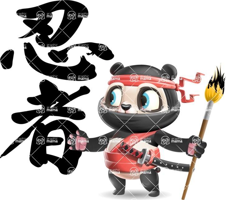 Ninja Panda Vector Cartoon Character - Calligraphy with Brush
