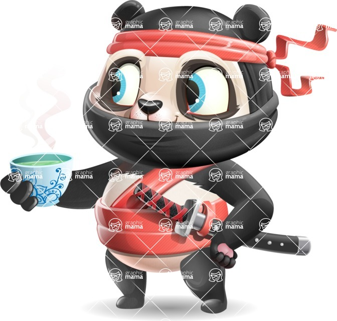 Ninja Panda Vector Cartoon Character - Drinking green tea
