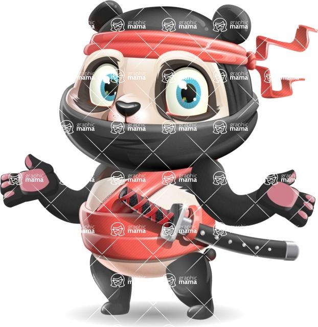 Ninja Panda Vector Cartoon Character - Feeling Confused