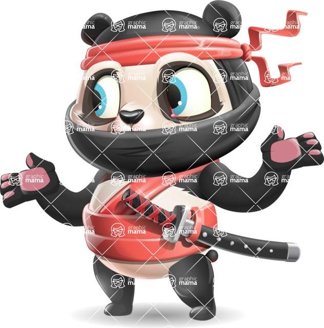 Ninja Panda Vector Cartoon Character - Feeling Lost