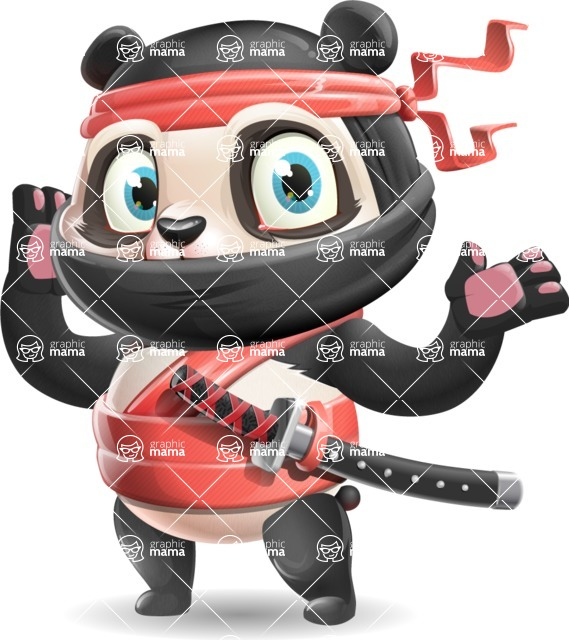 Ninja Panda Vector Cartoon Character - Feeling Shocked