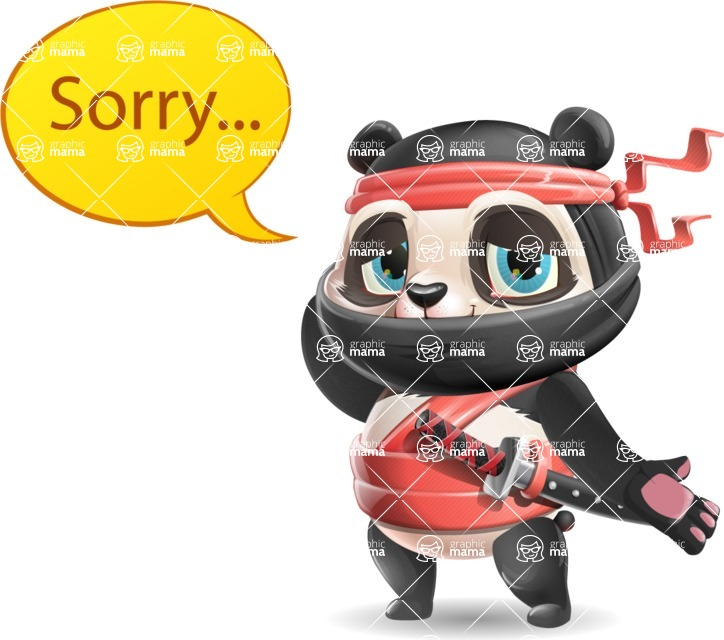 Ninja Panda Vector Cartoon Character - Feeling sorry