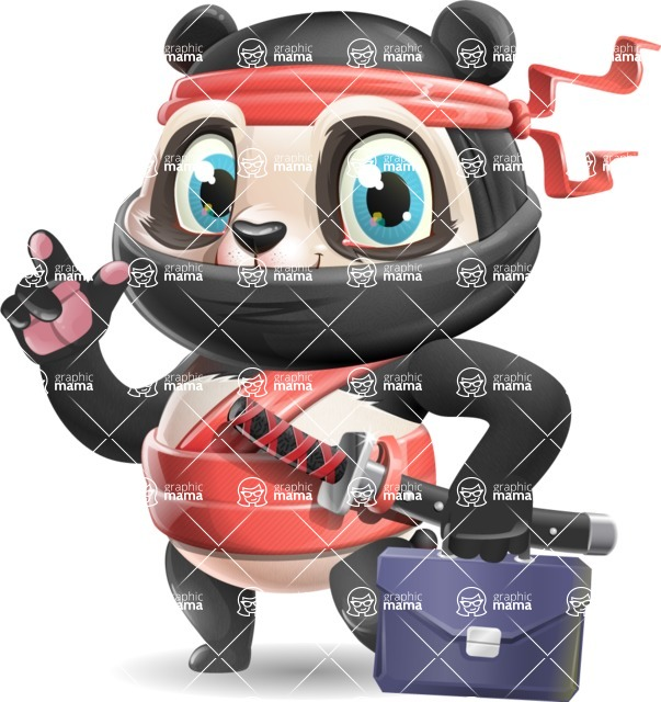 Ninja Panda Vector Cartoon Character - Holding a briefcase