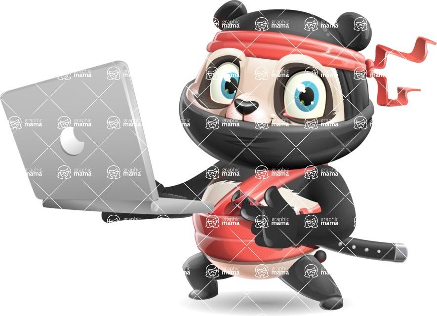 Ninja Panda Vector Cartoon Character - Holding a laptop