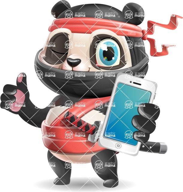 Ninja Panda Vector Cartoon Character - Holding a smartphone