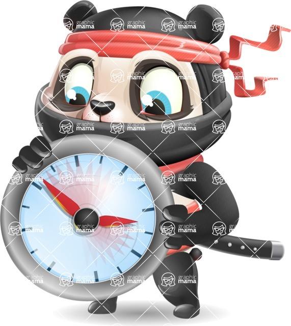 Ninja Panda Vector Cartoon Character - Holding clock