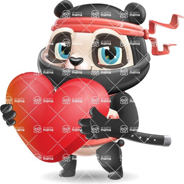 Ninja Panda Vector Cartoon Character - Holding heart