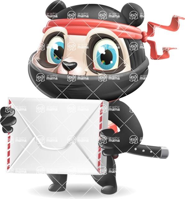 Ninja Panda Vector Cartoon Character - Holding mail envelope