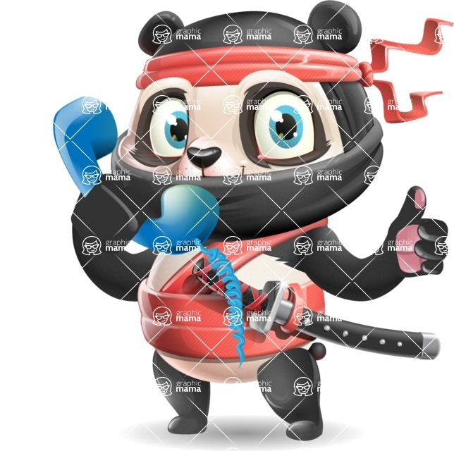Ninja Panda Vector Cartoon Character - Holding phone with thumbs up