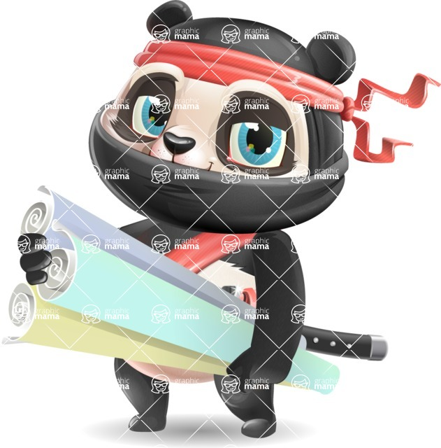 Ninja Panda Vector Cartoon Character - Holding Plans
