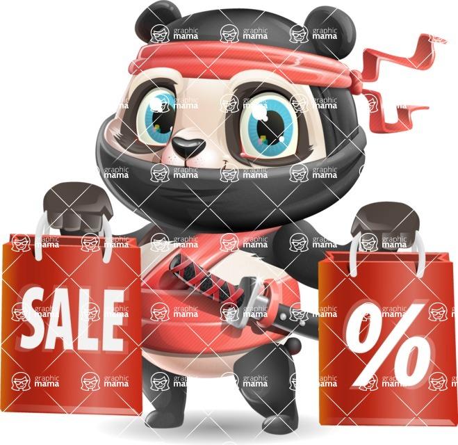 Ninja Panda Vector Cartoon Character - Holding shopping bags