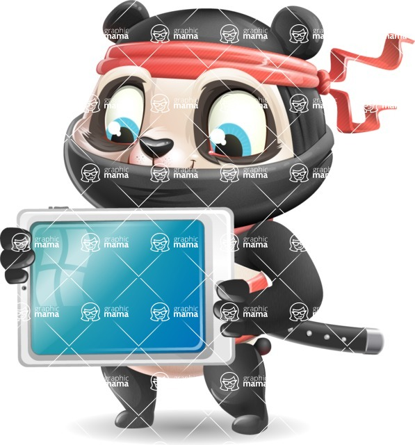 Ninja Panda Vector Cartoon Character - Holding tablet