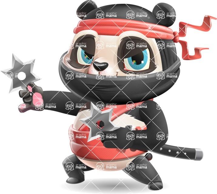 Ninja Panda Vector Cartoon Character - Holding two Ninja stars