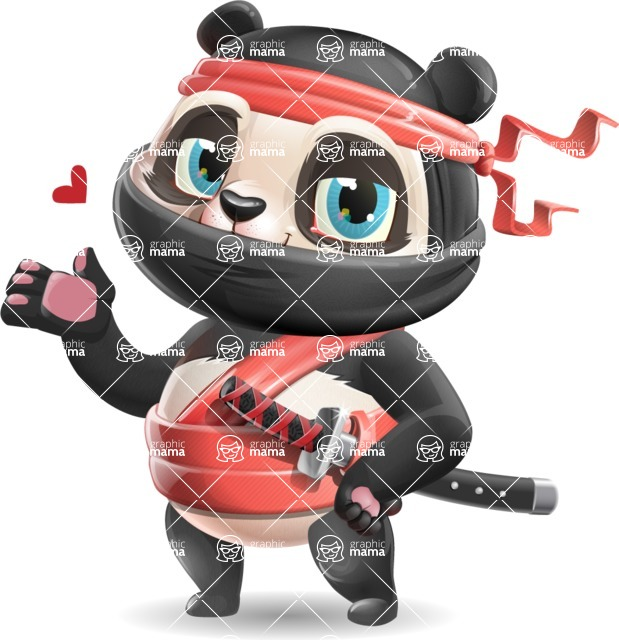 Ninja Panda Vector Cartoon Character - Making a Duckface for a selfie