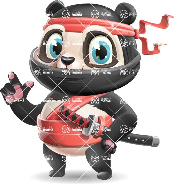 Ninja Panda Vector Cartoon Character - Making a point