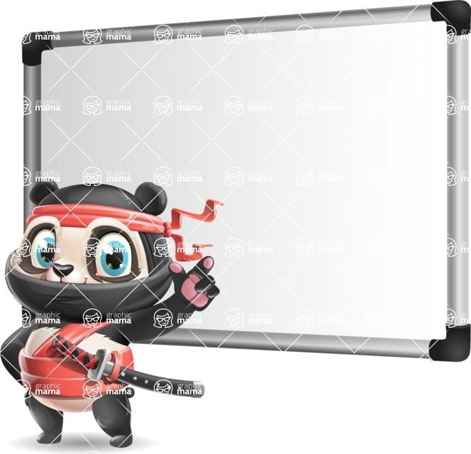 Ninja Panda Vector Cartoon Character - Making a Presentation on a Blank white board