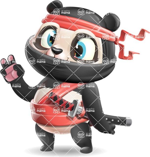 Ninja Panda Vector Cartoon Character - Making Funny face