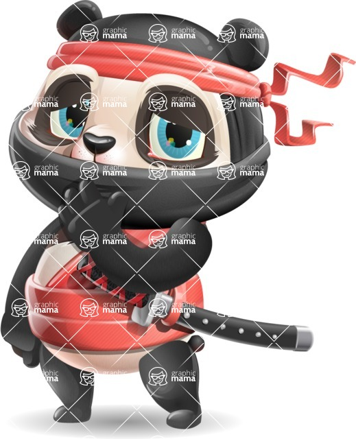 Ninja Panda Vector Cartoon Character - Making Oops gesture