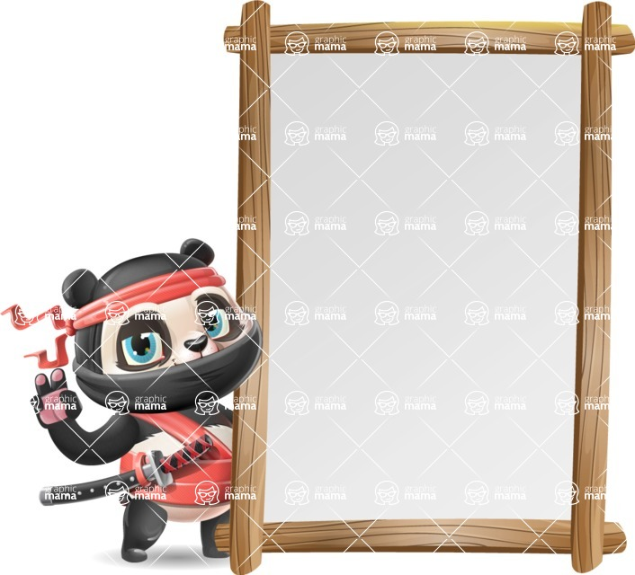 Ninja Panda Vector Cartoon Character - Making peace sign with Big Presentation board