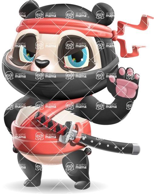 Ninja Panda Vector Cartoon Character - Making stop with a hand