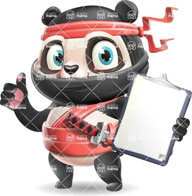 Ninja Panda Vector Cartoon Character - Making thumbs up with notepad