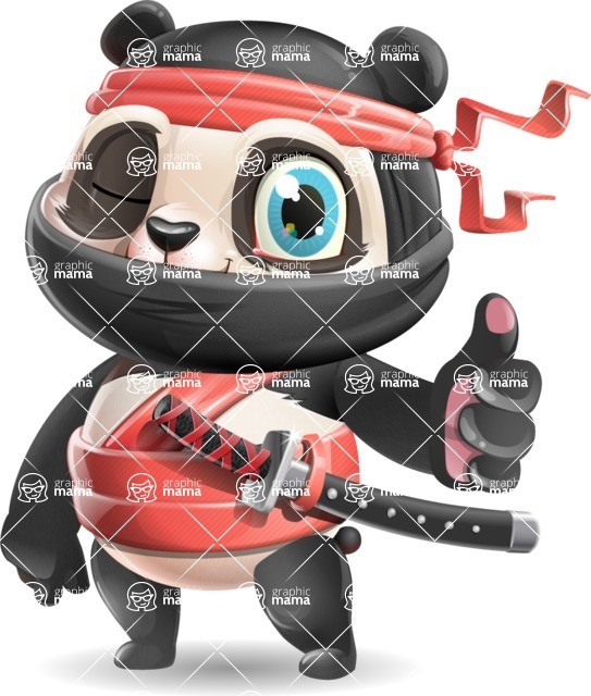 Ninja Panda Vector Cartoon Character - Making Thumbs Up
