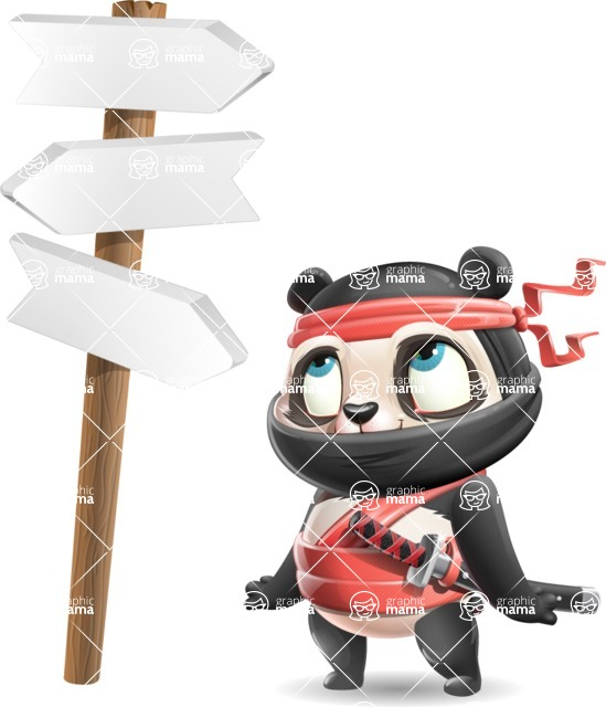 Ninja Panda Vector Cartoon Character - on a Crossroad with sign pointing in all directions