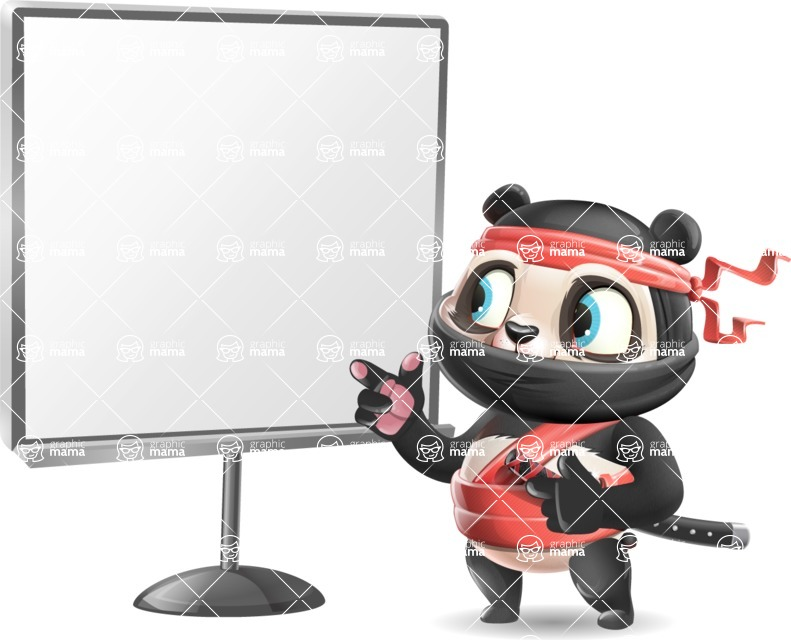 Ninja Panda Vector Cartoon Character - Pointing on a Blank whiteboard