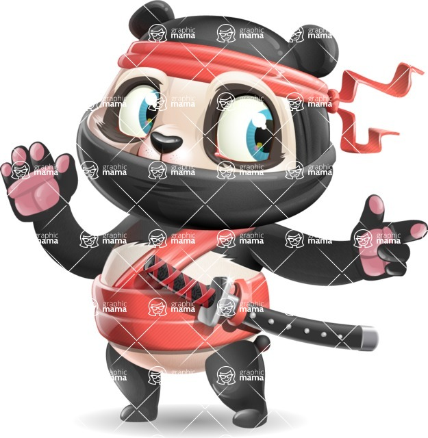 Ninja Panda Vector Cartoon Character - Pointing with a fnger