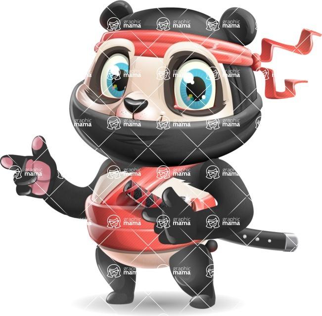 Ninja Panda Vector Cartoon Character - Pointing with both hands