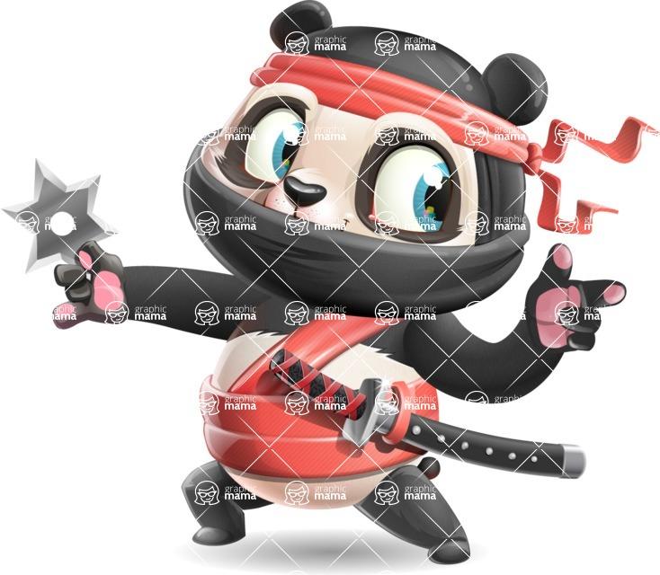Ninja Panda Vector Cartoon Character - Pointing with left hand