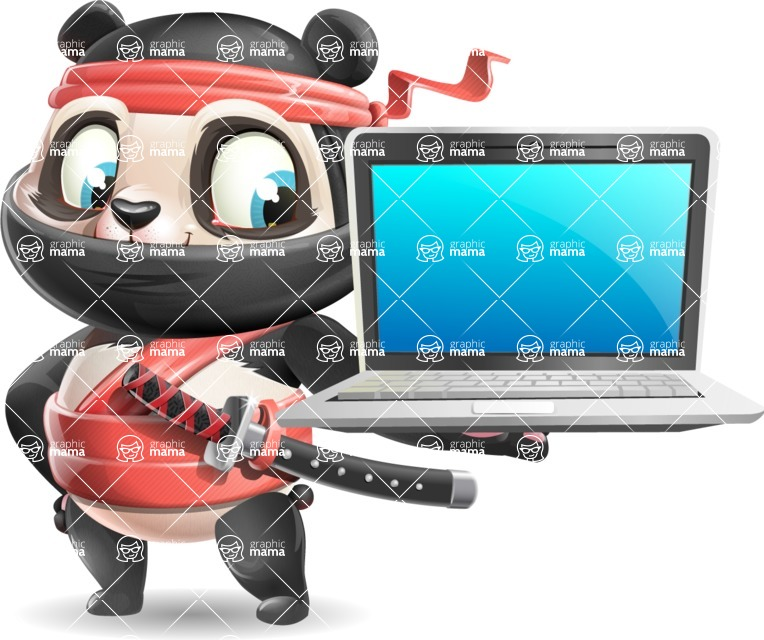 Ninja Panda Vector Cartoon Character - Presenting on laptop