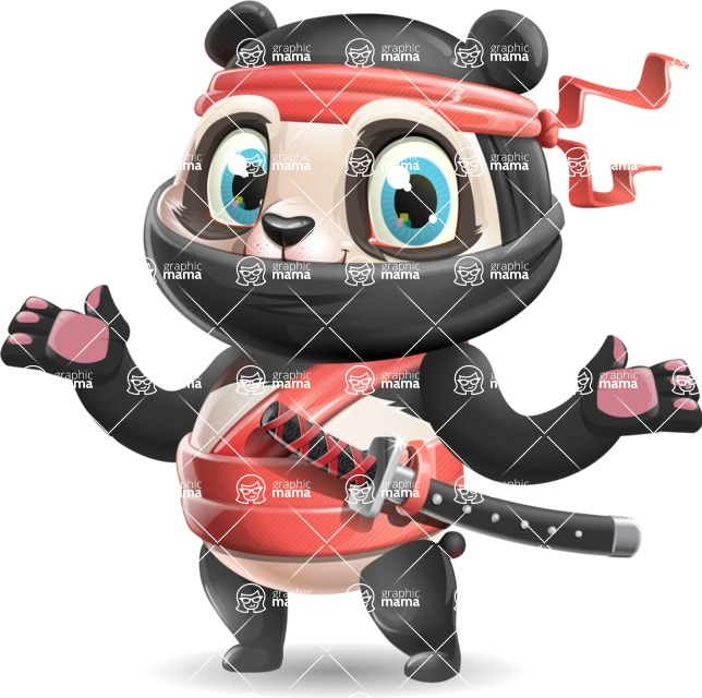 Ninja Panda Vector Cartoon Character - Presenting with both hands