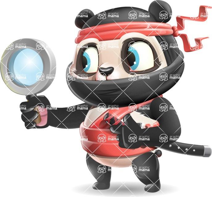 Ninja Panda Vector Cartoon Character - Searching with magnifying glass