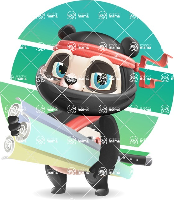 Ninja Panda Vector Cartoon Character - Shape 10