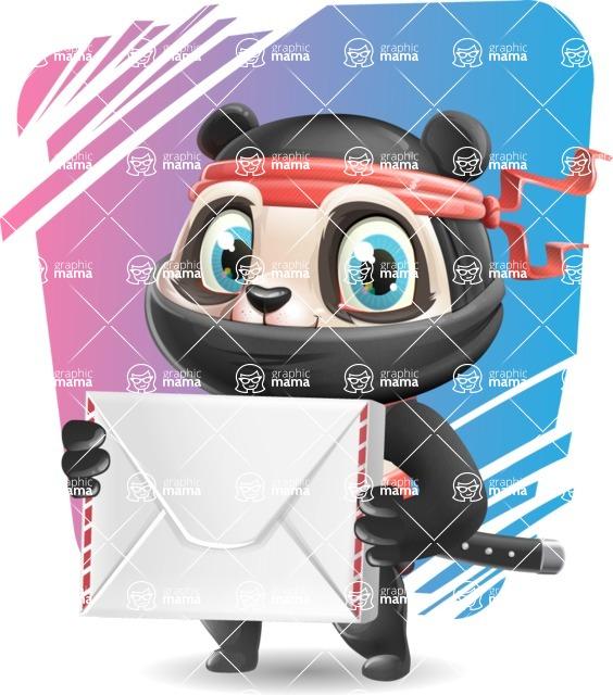 Ninja Panda Vector Cartoon Character - Shape 11
