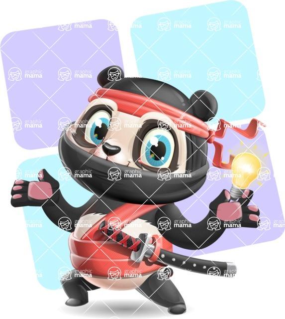 Ninja Panda Vector Cartoon Character - Shape 12