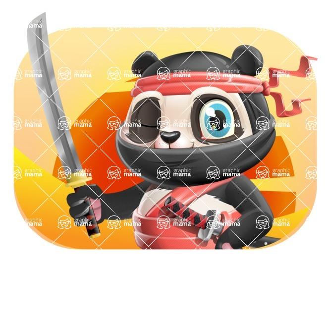 Ninja Panda Vector Cartoon Character - Shape 4
