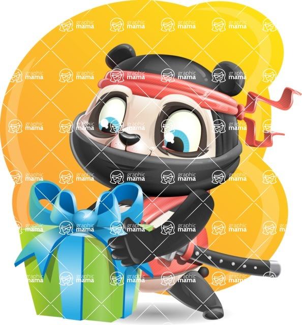 Ninja Panda Vector Cartoon Character - Shape 5