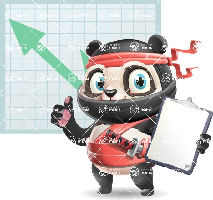 Ninja Panda Vector Cartoon Character - Shape 6
