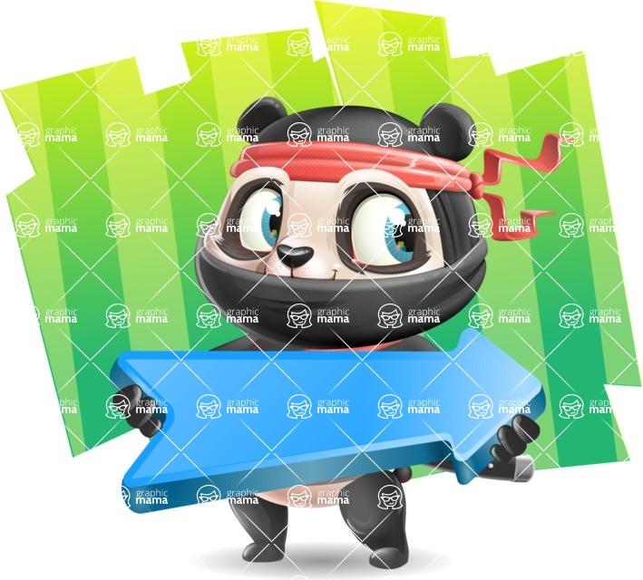 Ninja Panda Vector Cartoon Character - Shape 8
