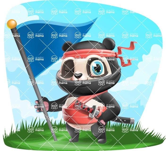 Ninja Panda Vector Cartoon Character - Shape 9
