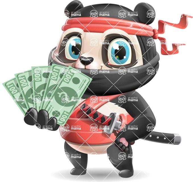 Ninja Panda Vector Cartoon Character - Show me the Money