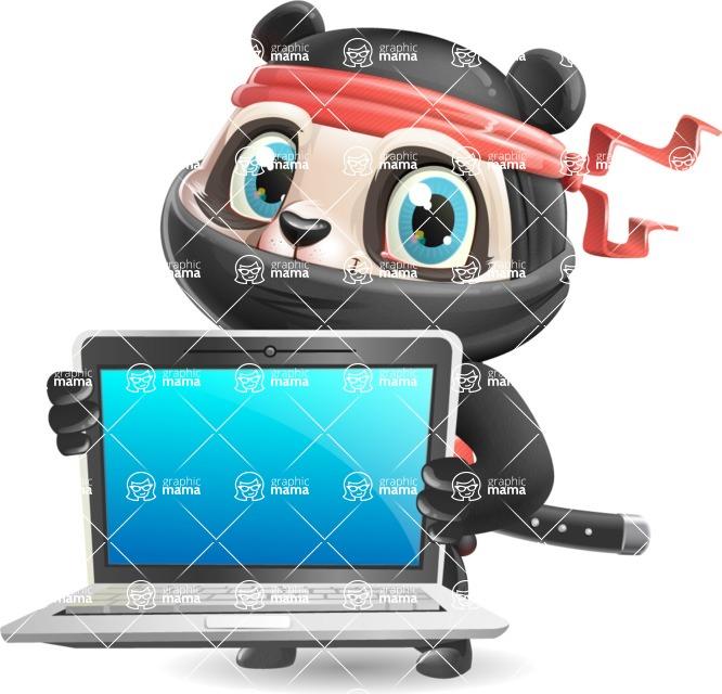 Ninja Panda Vector Cartoon Character - Showing a laptop