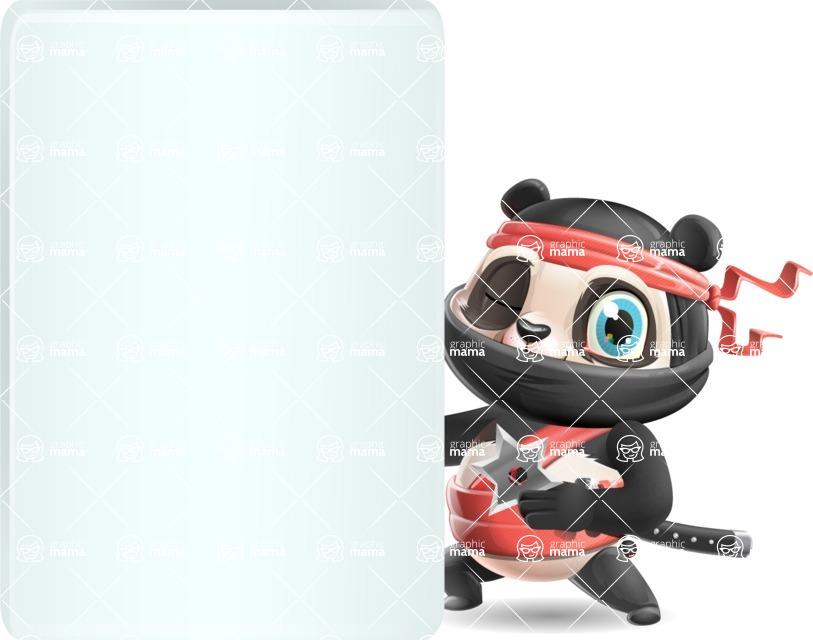 Ninja Panda Vector Cartoon Character - Showing Big Blank banner